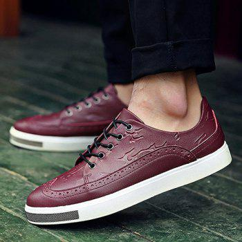 Simple Lace-Up and Engraving Design Casual Shoes For Men - 42 42