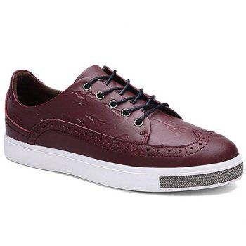 Simple Lace-Up and Engraving Design Casual Shoes For Men - WINE RED 42
