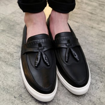 Concise Solid Colour and PU Leather Design Men's Casual Shoes - BLACK 43