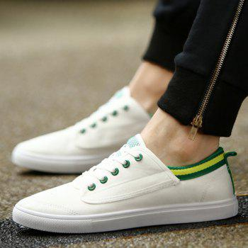 Simple Cloth and Colour Block Design Men's Casual Shoes - WHITE 43