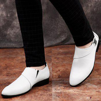Stylish Metal and Solid Colour Design Men's Formal Shoes - WHITE 43