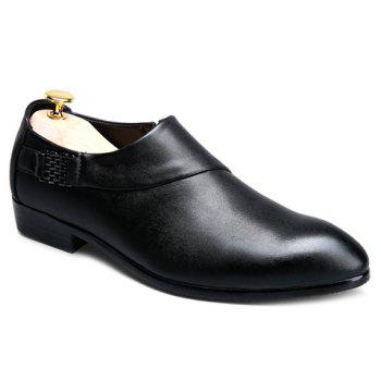 Stylish Metal and Solid Colour Design Men's Formal Shoes