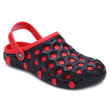 Concise Colour Block and Circle Pattern Design Men's Slippers - RED WITH BLACK RED/BLACK