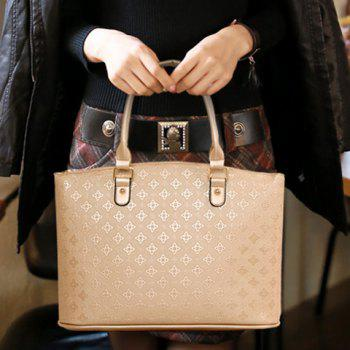 New Arrival PU Leather and Embossing Design Tote Bag For Women - GOLDEN