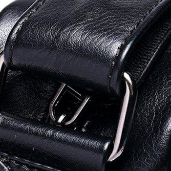 Concise PU Leather and Zippers Design Men's Messenger Bag - BLACK