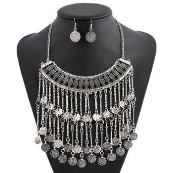 A Suit of Multilayered Coin Necklace and Earrings - SILVER
