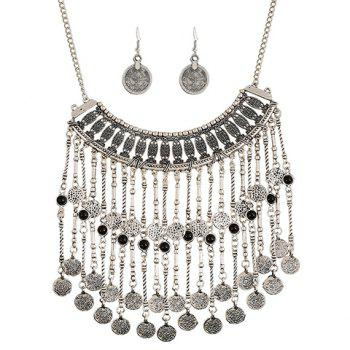 A Suit of Multilayered Coin Necklace and Earrings