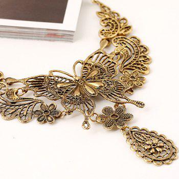 Hollowed Filigree Butterfly Necklace and Earrings - GOLDEN