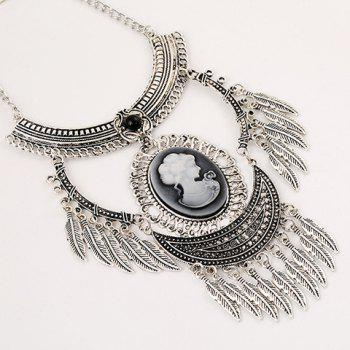 A Suit of Engraved Queen Pattern Necklace and Earrings - SILVER GRAY