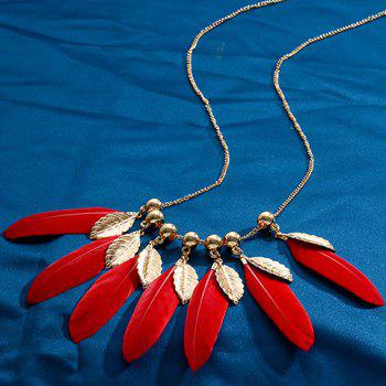 Feather Pendant Necklace - RED
