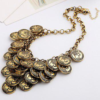 Multilayered Coins Pendant Necklace - GOLDEN