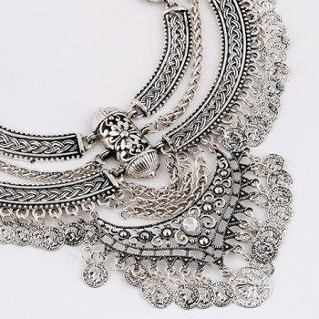 A Suit of Coins Moon Necklace and Earrings - SILVER