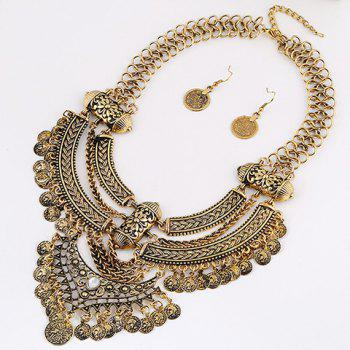 A Suit of Coins Moon Necklace and Earrings
