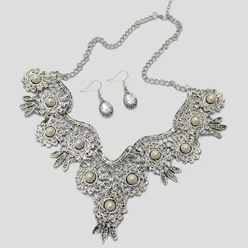 A Suit of Rhinestone Water Drop Necklace and Earrings