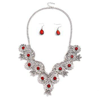 A Suit of Rhinestone Water Drop Necklace and Earrings - RED