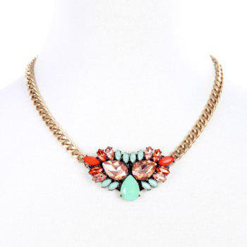 Faux Crystal Water Drop Chunky Necklace