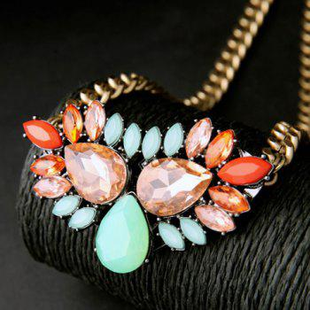Faux Crystal Water Drop Chunky Necklace - GOLDEN