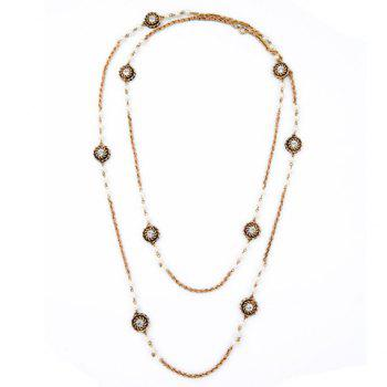 Trendy Rhinestone Long Style Necklace For Women - GOLDEN