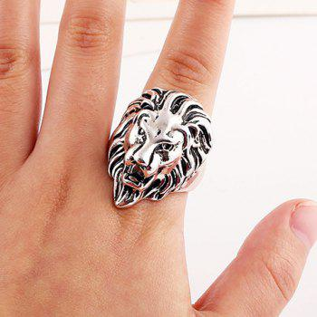 Chic Lion Head Shape Ring For Men - SILVER SILVER