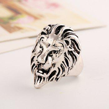 Chic Lion Head Shape Ring For Men - SILVER ONE-SIZE