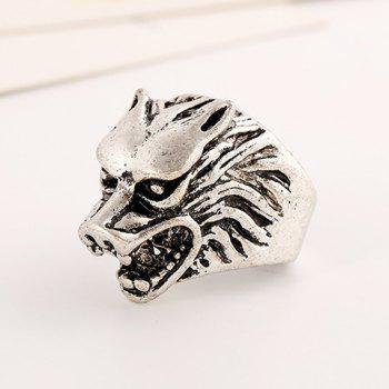 Chic Wolf Head Shape Ring For Men - SILVER GRAY SILVER GRAY