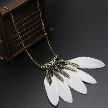 Fake Feather Tassel Pendant Sweater Chain - WHITE