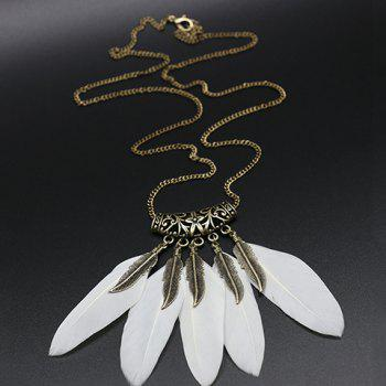 Fake Feather Tassel Pendant Sweater Chain