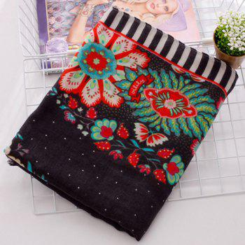 Chic Handpainted Ethnic Flower Pattern Women's Fringed Scarf