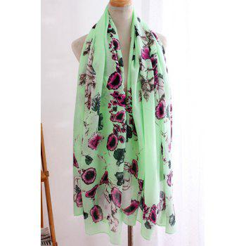 Chic Flower and Skull Pattern Women's Chiffon Scarf