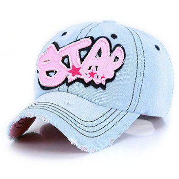 Chic Broken Hole and Letter Shape Embellished Women's Jeans Baseball Cap