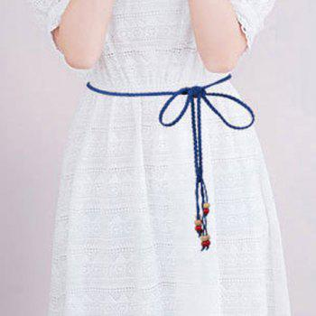 Chic Beads Embellished Candy Color Women's Waist Rope - SAPPHIRE BLUE
