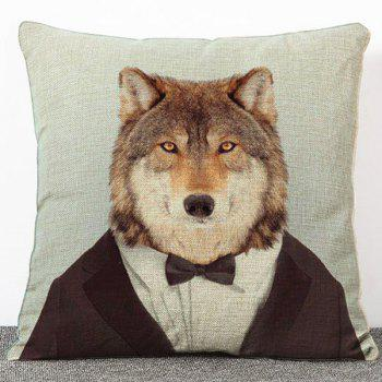 Stylish Cartoon Mr. Dog Pattern Flax Pillow Case(Without Pillow Inner)