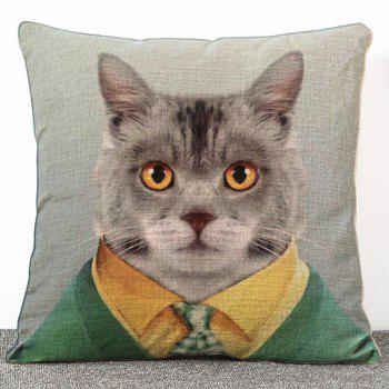 Chic Quality Cartoon Mr. Cat Pattern Flax Pillow Case(Without Pillow Inner)