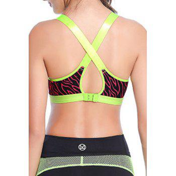 Strappy Cross Back Zebra Print Sport Bra For Women - GREEN GREEN