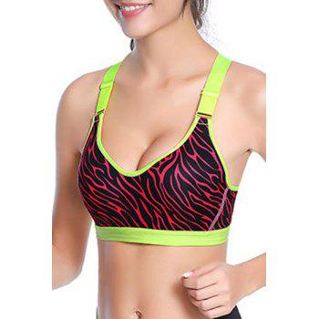 Strappy Cross Back Zebra Print Sport Bra For Women - 2XL 2XL