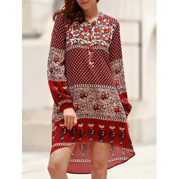 Retro Style Printed Jewel Neck Long Sleeve Asymmetric Dress For Women