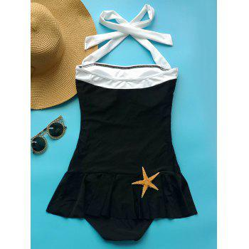 Fashionable Women's Halter Ruffled One-Piece Swimwear - BLACK S