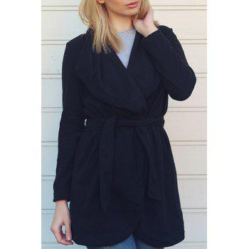 Chic Women's Turn-Down Collar Long Sleeve Pure Color Irregular Hem Coat