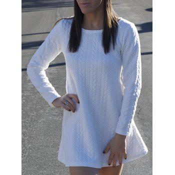 Graceful Long Sleeve Scoop Neck Knitted Pure Color Women's A-Line Dress