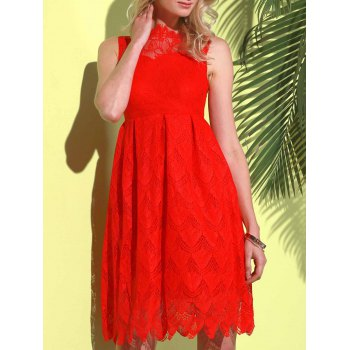 Stylish Round Neck Sleeveless Hollow Out Solid Color Lace Women's Dress