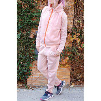 Active Graphic Hoodie and Flocking Waistcoat and Pants - PINK XL