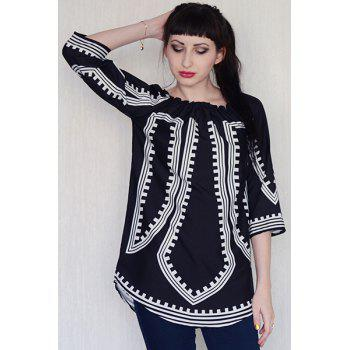 Fashionable Long Sleeve Off-The-Shoulder Printed Women's Dress - BLACK XL