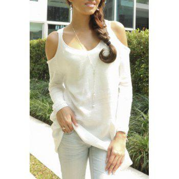 Trendy Sweetheart Neck Cut Out Long Sleeve Solid Color Sweater For Women