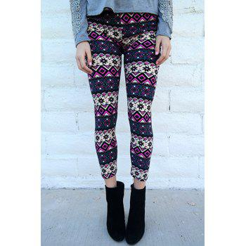 Women's Chic Geometrical Print Color Block Skinny Leggings