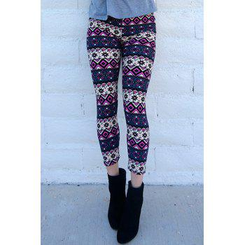 Women's Chic Geometrical Print Color Block Skinny Leggings - COLORMIX ONE SIZE(FIT SIZE XS TO M)