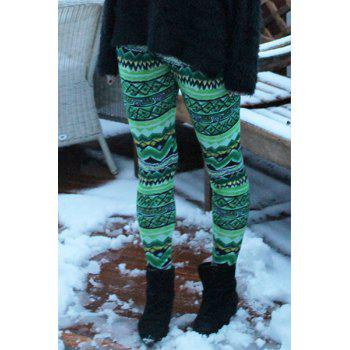 Stylish Elastic Waist Skinny Colored Printed Women's Leggings