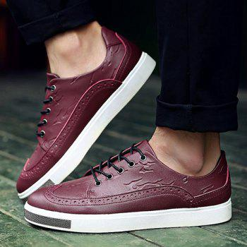 Simple Lace-Up and Engraving Design Casual Shoes For Men - 43 43