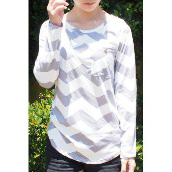 Stylish Long Sleeve Scoop Neck Chevron Stripe Women's Slimming T-Shirt
