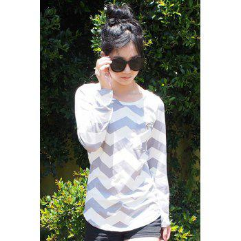 Stylish Long Sleeve Scoop Neck Chevron Stripe Women's Slimming T-Shirt - GRAY L