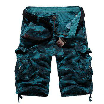 Loose Fit Straight Leg Multi-Pocket Camo Print Men's Zipper Fly Cargo Shorts